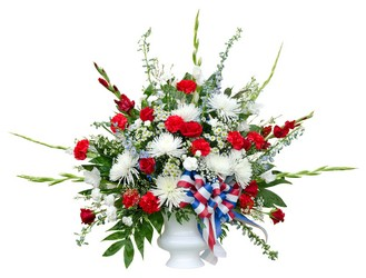 Patriotic Sympathy Arrangement from Scott's Flowers on the Square in Stephenville, TX